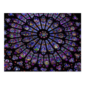 Purple Stained Glass Church Window Postcard