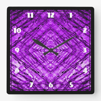 Purple Stained Glass kaleidoscope Texture Square Wall Clock