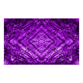 Purple Stained Glass kaleidoscope Texture Poster