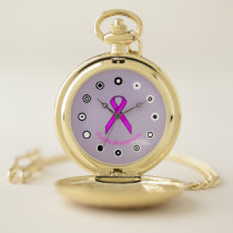 Purple Standard Ribbon (Bf) by K Yoncich Pocket Watch