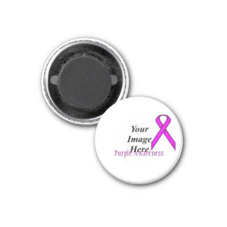 Purple Standard Ribbon by Kenneth Yoncich 1 Inch Round Magnet