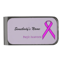 Purple Standard Ribbon by Kenneth Yoncich Gunmetal Finish Money Clip