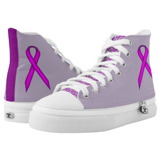 Purple Standard Ribbon by Kenneth Yoncich High-Top Sneakers