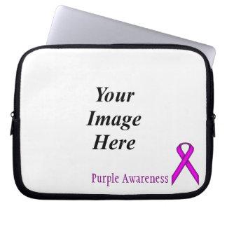 Purple Standard Ribbon by Kenneth Yoncich Laptop Sleeve