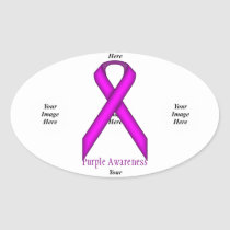 Purple Standard Ribbon by Kenneth Yoncich Oval Sticker