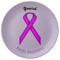Purple Standard Ribbon by Kenneth Yoncich Porcelain Plate