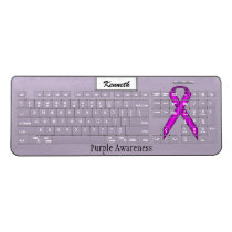 Purple Standard Ribbon by Kenneth Yoncich Wireless Keyboard