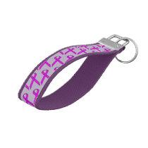 Purple Standard Ribbon by Kenneth Yoncich Wrist Keychain