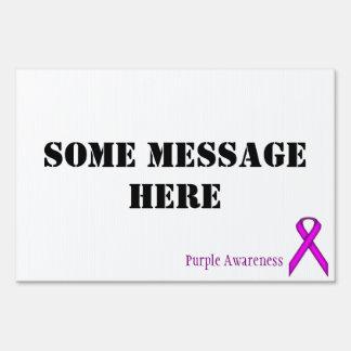Purple Standard Ribbon by Kenneth Yoncich Yard Sign