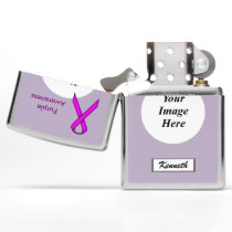Purple Standard Ribbon by Kenneth Yoncich Zippo Lighter
