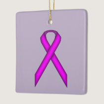 Purple Standard Ribbon Ceramic Ornament