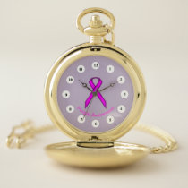 Purple Standard Ribbon (Cf) by K Yoncich Pocket Watch
