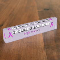 Purple Standard Ribbon Desk Name Plate
