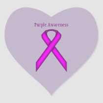 Purple Standard Ribbon Heart Sticker