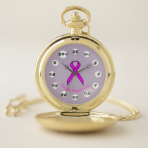 Purple Standard Ribbon (Kf) by K Yoncich Pocket Watch