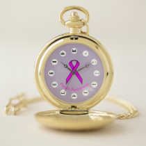 Purple Standard Ribbon (Mf) by K Yoncich Pocket Watch