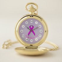 Purple Standard Ribbon (Rf) by K Yoncich Pocket Watch