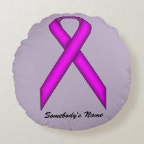 Purple Standard Ribbon Round Pillow