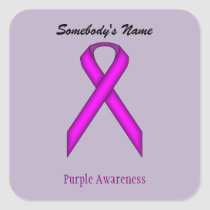Purple Standard Ribbon Square Sticker