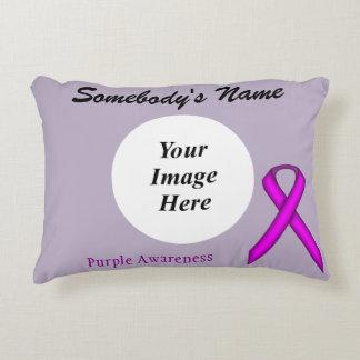 Purple Standard Ribbon Template Accent Pillow