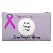 Purple Standard Ribbon Template Cosmetic Bag