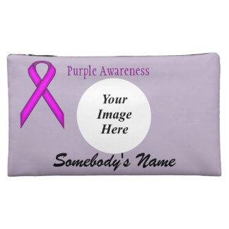 Purple Standard Ribbon Template Cosmetic Bag