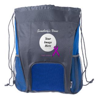 Purple Standard Ribbon Template Drawstring Backpack