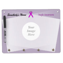Purple Standard Ribbon Template Dry Erase Board With Keychain Holder