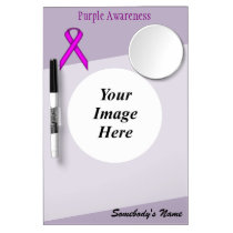 Purple Standard Ribbon Template Dry Erase Board With Mirror
