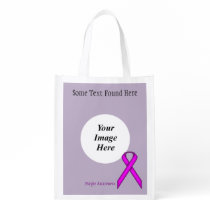 Purple Standard Ribbon Template Grocery Bag