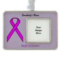 Purple Standard Ribbon Template (H-O) Christmas Ornament