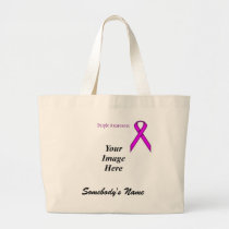 Purple Standard Ribbon Template Large Tote Bag