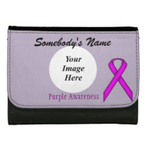 Purple Standard Ribbon Template Leather Wallet For Women