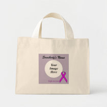 Purple Standard Ribbon Template Mini Tote Bag