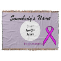 Purple Standard Ribbon Template Throw Blanket