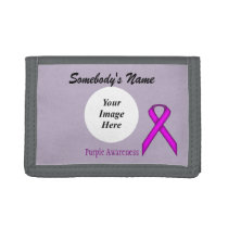 Purple Standard Ribbon Template Tri-fold Wallet