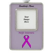 Purple Standard Ribbon Template (V-O) Ornament