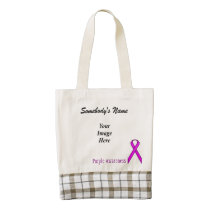 Purple Standard Ribbon Template Zazzle HEART Tote Bag