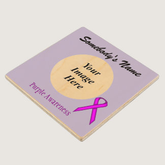Purple Standard Ribbon Tmpl by Kenneth Yoncich Wooden Coaster