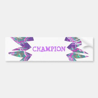PURPLE Star:  CHAMPION Script Bumper Sticker