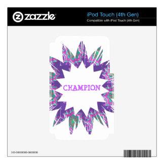 PURPLE Star:  CHAMPION Script iPod Touch 4G Skin