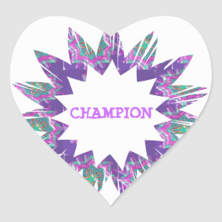 PURPLE Star:  CHAMPION Script Heart Sticker