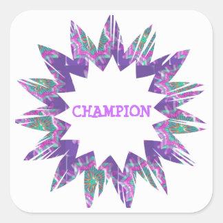 PURPLE Star:  CHAMPION Script Stickers