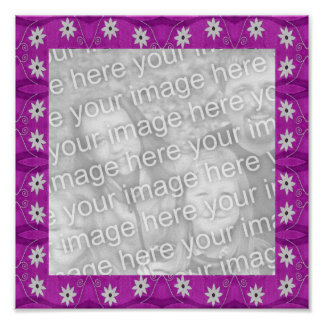 purple star flower photo frame poster