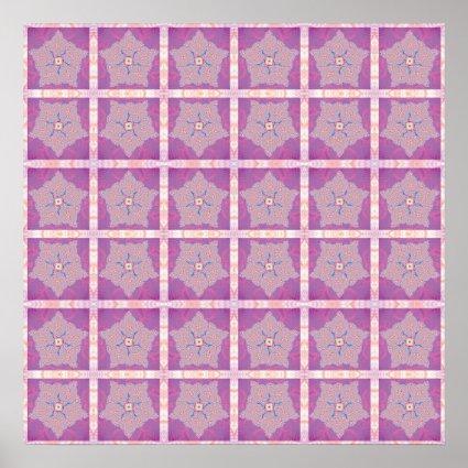 Purple Star Fractal Pattern Print