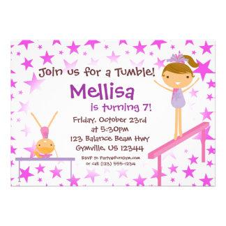Purple Star Gymnast Birthday Party Invitation
