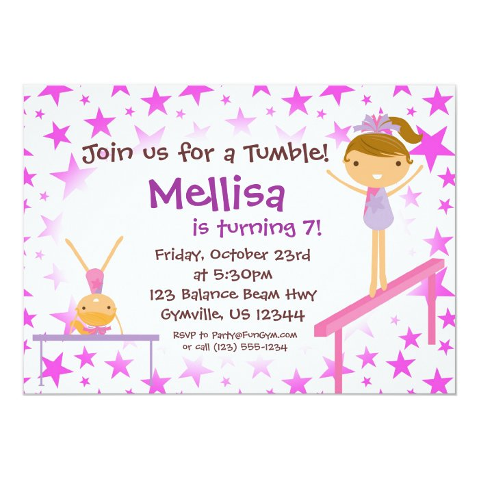 Gymnastic Party Invites as beautiful invitations design