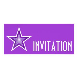 Purple Star 'INVITATION' purple long Card