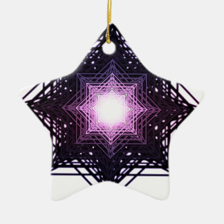Purple Star Double-Sided Star Ceramic Christmas Ornament