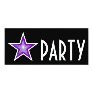 Purple Star 'PARTY' invitation black long